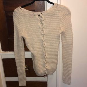 Sweaters - Lace up back sweater
